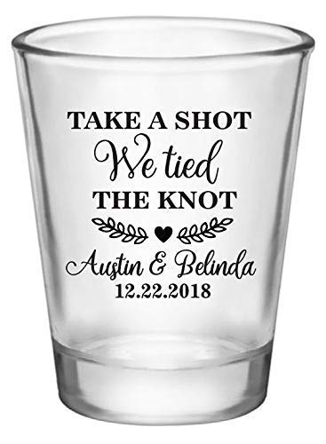 Wedding Shot Glasses.Personalized Wedding Favor Shot Glasses Take A Shot We Tied The Knot Customized Just For You