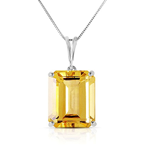 14k Solid White, Rose, and Yellow Gold Necklace with 6.5 Carats Octagon-Cut Natural Citrine (white-gold, 20)