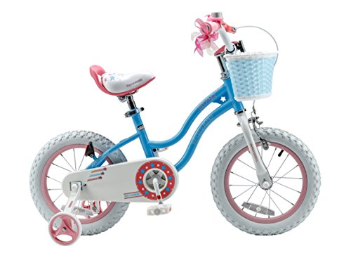 Royalbaby Stargirl Girl's Bike with Training Wheels and Basket, Perfect Gift for Kids. 14 Inch Wheels, Blue