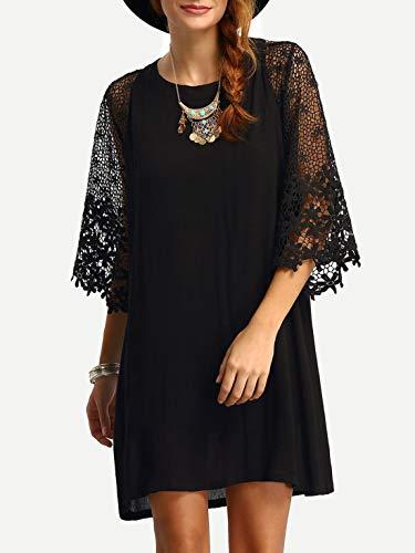 Black Chiffon Cocktail Dress - MAKEMECHIC Women's Casual Crewneck Half Sleeve Summer Chiffon Tunic Dress Black XXL
