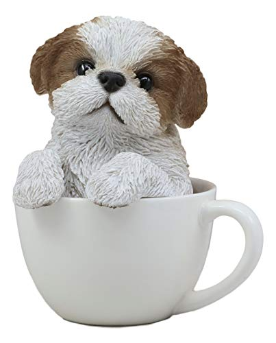 Collectible Dog Figurine (Ebros Realistic Adorable Shih Tzu Dog in Teacup Statue 5.75