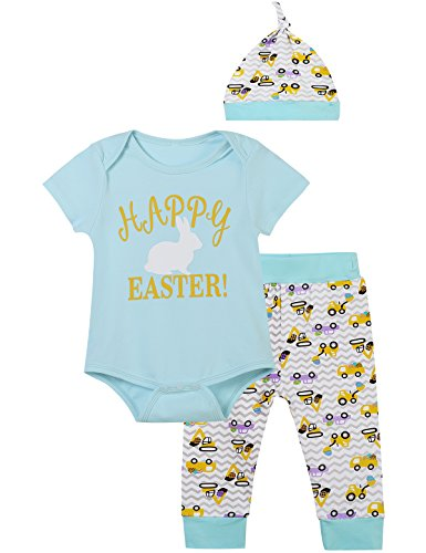 iCrazy Happy Easter Outfit Set Baby Boys' Cute Bunny Romper Pants With Hat (Blue, 12-18 Months) -