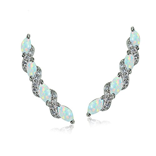 (Sterling Silver Simulated White Opal and White Topaz Twist Crawler Climber Hook Earrings)