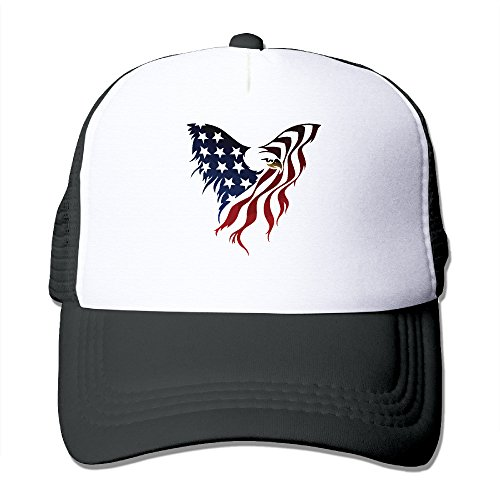 (American Flag Eagle Tattoo Mesh Hat Trucker Baseball Cap Black)