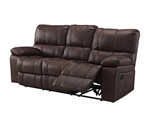Rison Dual Power Motion Recliner Sofa in Brown