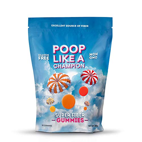Poop Like A Champion High Fiber Gummies Packs 9 g of Fiber in Just 3 Gummies! Peach, Orange and Strawberry, Ultra Fiber, 100% Non-GMO – 1/2 LB resealable bag!