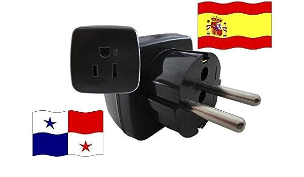 Adaptador de Viaje para España y Panamá ES/PA Enchufe de Viaje (Contacto de Protección, 2200 Vatios): Amazon.es: Bricolaje y herramientas