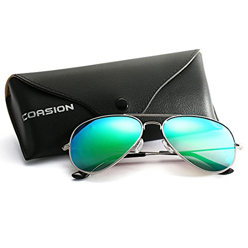 COASION Classic Aviator Sunglasses for Men Women, Polarized Mirror Lens, 100%UV Protection with Leather Case (Silver/Green - Green Aviators Blue