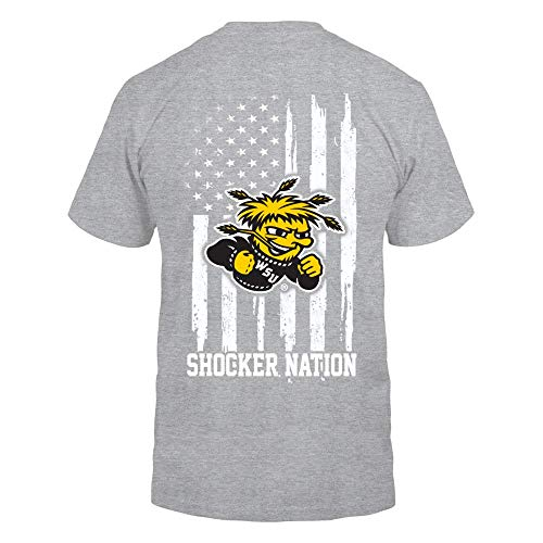 FanPrint Wichita State Shockers T-Shirt - Nation Flag - Premium Men's ()