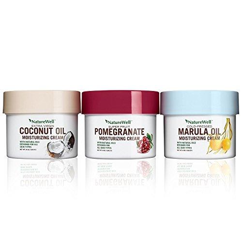 Naturewell Rich Moisture Cream Trio ~ Coconut Oil, Pomegranate, Marula Oil (Pomegranate Coconut)