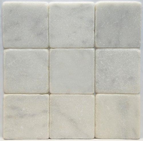 Carrara Marble Italian White Bianco Carrera 4x4 Marble Tile Tumbled