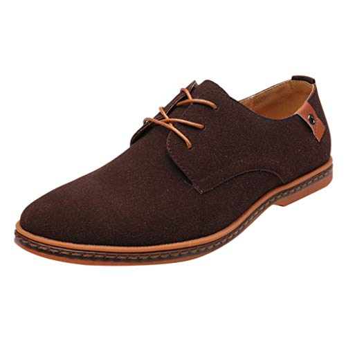- Sunhusing Men's British Style Business Microfiber Dress Shoes Casual Lace-Up Flat Bottom Oxford Shoes Brown