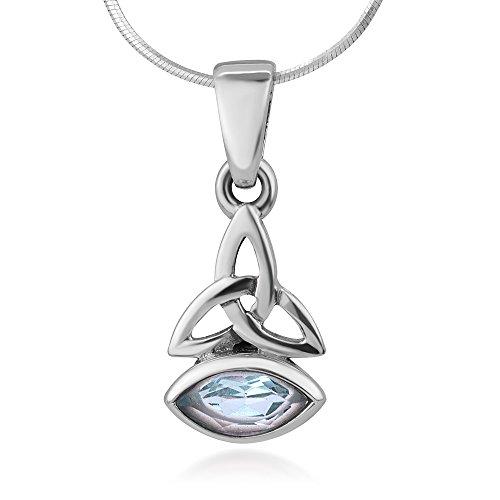 925 Sterling Silver Triquetra Trinity Celtic Knot Blue Topaz Gemstone Pendant Necklace (Blue Topaz Snake Necklace)