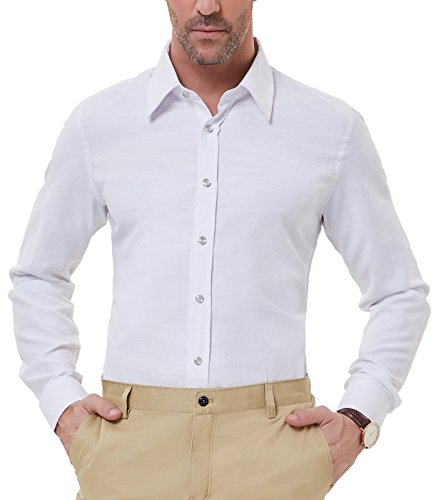 PAUL JONES Men's Elegant White Wedding Shirt Slim Fit Formal Shirt, White by PAUL JONES