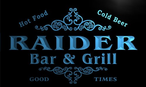 Oakland Raiders Neon Sign - u36528-b RAIDER Family Name Bar & Grill Home Brew Beer Neon Sign
