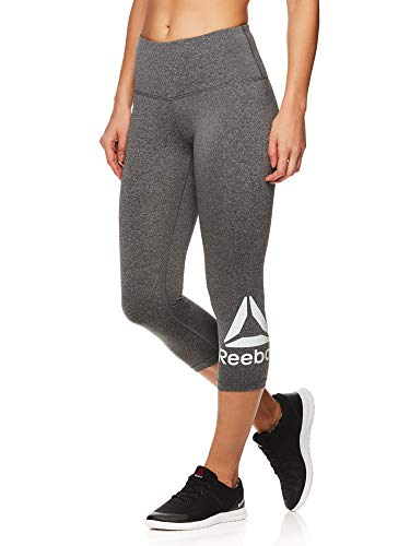 Reebok Women's Capri Leggings w/High-Rise Waist - Cropped Performance Compression Tights - Wanderlust Charcoal Heather, Small
