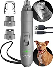 Dog Nail Grinder with LED Light, Rechargeable Dog Nail Grinder for Large Dogs, Medium & Small Dogs, Profes