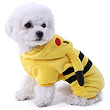 PAWZ Road Cartoon Bikachu Design Pet Costume Dog Clothes Puppy Hoodie (M(Chest 15.0¡¯¡¯ Body Length 11.4¡¯¡¯)