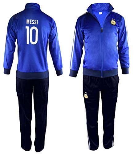 Fan Kitbag Argentina Messi #10 Kids Soccer Tracksuit All Youth Sizes Leo Lionel Messi 10 Football Track Jacket Top ✓ Kids Futbol Track Pants Great Gift