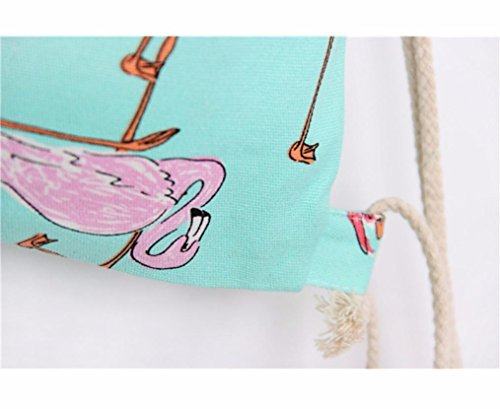 2018 Flamingos Drawstring Beam Port Backpack Shopping Bag Travel Bag for Women by TOPUNDER by Bags for women Topunder (Image #6)