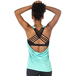 icyzone Activewear Running Workouts Clothes Yoga Strappy Built in Bra Tank Tops for Women (M, Florida Keys)