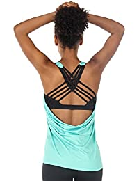 Yoga Tops Workouts Clothes Activewear Built in Bra Tank...
