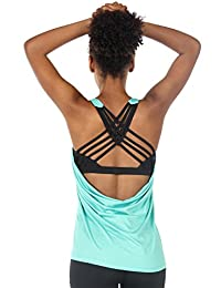 icyzone Women's Workout Yoga Strappy Crisscross Racerback Tank Tops with Built in Bra