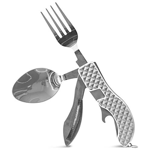 SHARPER IMAGE Trail Guide's Camper Multi Tool Utensil with Fork, Knife, Spoon, and Bottle Opener, Separates into Two Utensils for Easy Use, Best Camping, Hiking, Backpacking Accessories ()