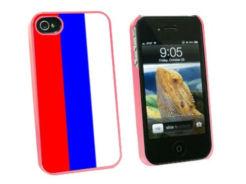 Graphics and More Russian Federation Flag - Snap On Hard Protective Case for Apple iPhone 4 4S - Pink - Carrying Case - Non-Retail Packaging - Pink