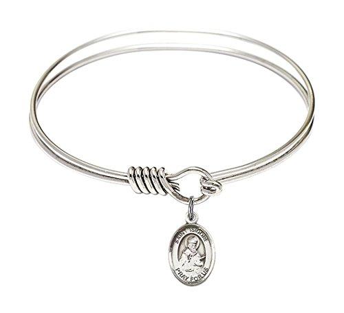 (Rhodium Plate Round Eye Hook Twist Bangle Bracelet with Saint Isidore of Seville Petite Charm, 6 1/4 Inch)