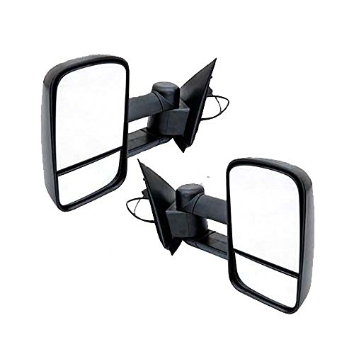 Vekwena 1 Pair Manual Telescoping/Folding Black Textured Housing Towing Mirrors For 97-03 Ford F-150/F-250 & 04 Ford F-150 Heritage old body Standard/Extended - Old Body Heritage