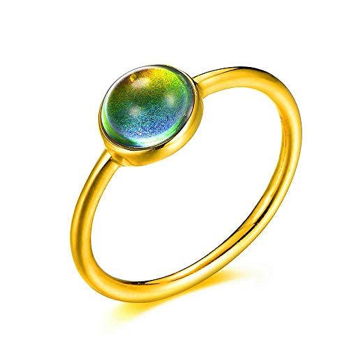 Ello Elli Minimalist Style Stainless Steel Mood Ring (Gold, 7)