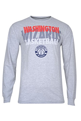 fan products of NBA Men's Washington Wizards T-Shirt Supreme Long Sleeve Pullover Tee Shirt, Large, Gray