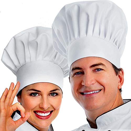 Chef Hat, 2PCS Adult Premium Adjustable Elastic Baker Kitchen Cooking Chef Cap, White]()