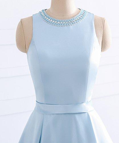 O Damen Ausschnitt Königsblau Champagner ärmellos Gürtel Ballkleider Kurz Linie mit Elegantes Abendkleider Satin A Perlen 5HTxa