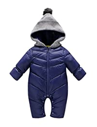 Winter Baby Boys Girl's One-Piece Cable Hood Down Snowsuit Jumpsuit