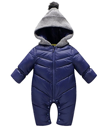 Infant Newborn Baby Hoodie Down Jacket Jumpsuit Snow Suit Winter Zip Up Long Sleeve One-Piece Coat Blue 12-18 - Suit Down