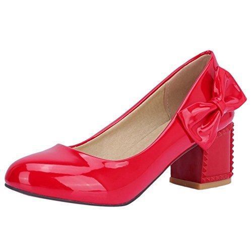 Fiesta Medio JOJONUNU Mujer Zapatos Red Tacon aqR7RxUf