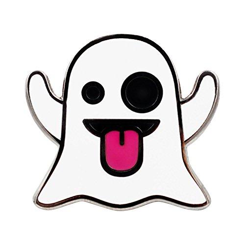 Real Sic Ghost Emoji Enamel Pin Halloween Pins Series - Cute Snapchat Ghost Emoji Pin for Backpacks, Jackets, Hats & Tops -