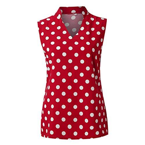HIRIRI Women's Sleeveless Top Blouse Classic V Neck Polka Dot Shirts Asymmetrical Hem Tops Red