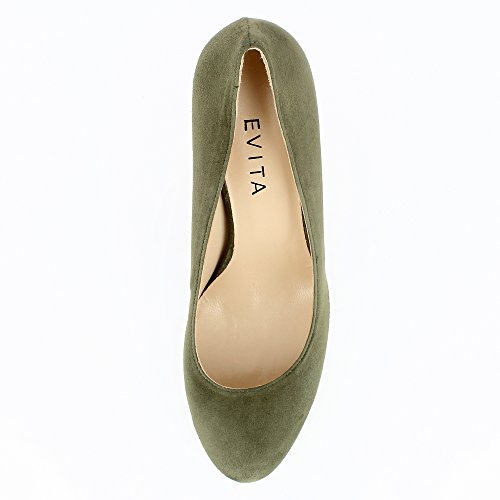 Evita Shoes Bianca Damen Pumps Rauleder Grün