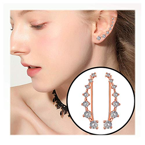Elensan Rose Gold 7 Crystals Ear Cuffs Hoop Climber S925 Sterling Silver Earrings Hypoallergenic Earring