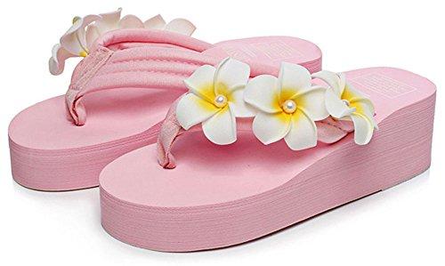QZUnique Women's Summer Fashion Bohemia Creative Elegant Flip Flops Pink US 6-6.5 by QZUnique (Image #1)