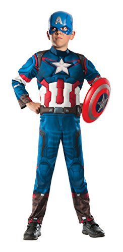 Captain America Avengers Costume Boots (Avengers Ultron Captain America Muscle Costume, Boy's Size Medium, 8-10)