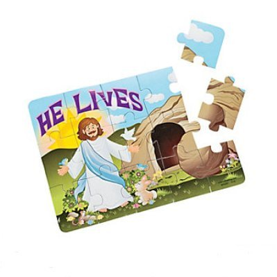 12 Set Foam He Lives Christ Jesus Christians 15 Piece Jigsaw Puzzles - Religious Bunny Easter Kids Boys Girls
