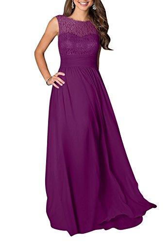 [LOVEBEAUTY® Women's Long Sleeveless Chiffon Formal Prom Party Evening Dress Plum US 22] (Plus Size Formal Dresses)