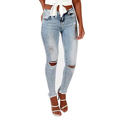 Women's Casual Hole Jeans High Waist Skinny Ripped Button Zipper Pocket Denim Pants Trousers