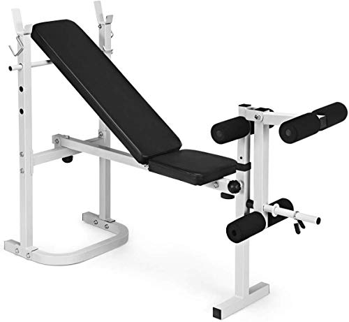 GYMAX Weight Bench with Leg Developer & Racks, Folding Multifunctional Workout Station for Full Body Strength, Adjustable Olympic Weight Bench for Home/Gym (White)
