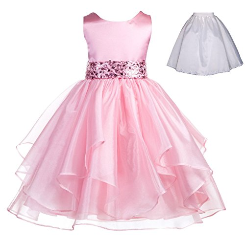 Wedding Ruffles Organza Flower Girl Dress Sequin Toddler Pageant Free Petticoat 012s Sequin Petticoat