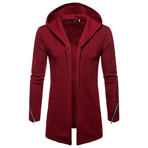 FANSHONN Men's Cardigan Sweatshirt Outwear Long Sleeve Open Front Trench Coat Jacket Zipper Cardigans